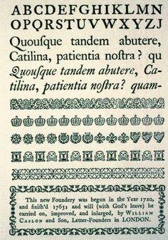 William Caslon, specimens of Caslon roman and italic, 1734.