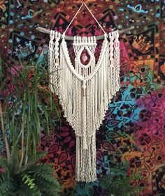 Boho Decor Bohemian Decor Macrame Wall Hanging on Driftwood