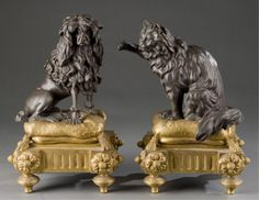 Lot 208: Pair of Louis XVI style ormolu and patinated bronze chenets. 19th century. One modeled as a poodle, the other a cat. Estimate: $4000-$6000.