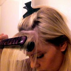 Use a flat iron to tame your cowlick and get perfect side-swept bangs. | 29 Hairstyling Hacks Every Girl Should Know