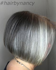 60 Gorgeous Gray Hair Styles Gray Bob With Platinum Highlights Gray Hair Highlights, Platinum Highlights, Granny Hair Trend, Pelo Color Gris, Grey Bob, Transition To Gray Hair, Short Grey Hair, Long Hair, Silver Grey Hair