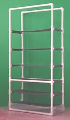 pvc storage rack. Either for shoe rack or buy bins and put extra odds and ends in it (idk if we necessarily need this) best to put in like a closet and put like Christmas decorations, our special stuff, and other storage stuff in bins and on this