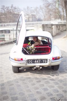 vintage wedding Jaguar in Paris | Image by Marjorie Prvl Photography