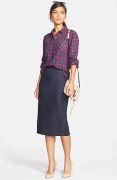 Casual elegance that's work-appropriate. Love this look - especially the skirt.
