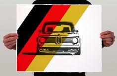 Classic Car Print - BMW 2002 Turbo Headshot - German Colors Limited Edition