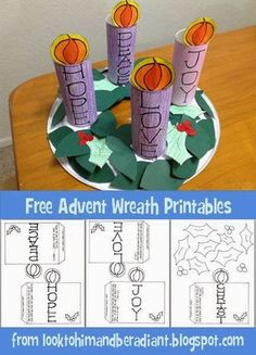 Kids' Advent Wreath- Free Printables This year at our CCD Family Advent Night, we decided that we would focus on the meaning of the Advent Wreath and have the kids make their own to take home. I will post pictures of how we make that wo Preschool Christmas, Christmas Crafts For Kids, Christmas Activities, Christmas Fun, Catholic Crafts, Catholic Kids, Church Crafts, Catholic School, Advent Catholic