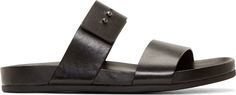 Woman by Common Projects Black Double Strap Sandals