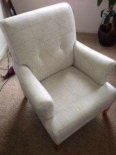 Baltimore: White Patterned Ikea Chair $80 - http://furnishlyst.com/listings/894453
