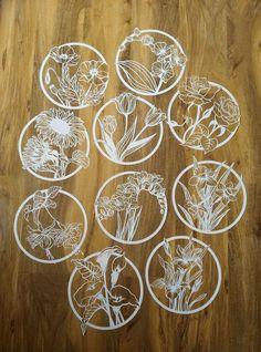 4 x Paper flowers template bundle Papercutting Template by image 1 Paper Cutting Templates, Art Template, Paper Cutting Art, Cut Paper Art, A4 Paper, Neli Quilling, 3d Zeichenstift, Stylo 3d, Cut Out Art