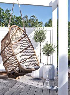 My Home by Pella Hedeby Outside Living, Outdoor Living, Sinnerlig Ikea, Small Gardens, Outdoor Gardens, Pella Hedeby, Hanging Hammock Chair, Hanging Chairs, Porches