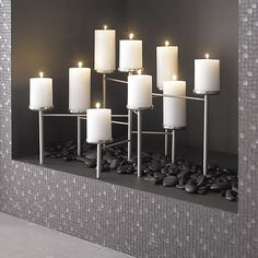 Pewter Fireplace Candelabra in Fireplace Accessories | Crate and Barrel