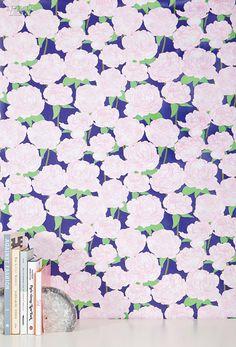 Editors' Picks: 96 Off-the-Wall Fabrics and Wallcoverings | Peony digitally printed clay-coated wallpaper by Kimberly Lewis #design #interiordesign #interiordesignmagazine