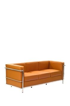 Le Corbusier LC2 Genuine Leather Sofa - Tan on HauteLook