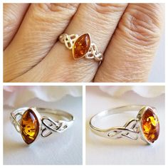 Amber Ring - Sterling Silver Ring - Baltic Amber ring - Amber Jewelry - Celtic ring - Genuine Amber Ring - Celtic jewelry - Excited to share the latest addition to my shop: Amber Ring – Sterling Silver Ring – Balt - Amber Ring, Amber Jewelry, Glass Jewelry, Fine Jewelry, Sterling Silver Bracelets, Silver Earrings, Earrings Uk, Silver Celtic Rings, Stone