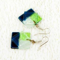 Navy Blue, Green and Clear Fused Glass Earrings, Hippie Boho Style