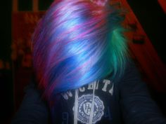pink, blue, and green dyed hair