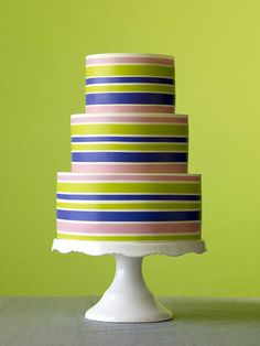 martha stewart weddings striped ribbon cake
