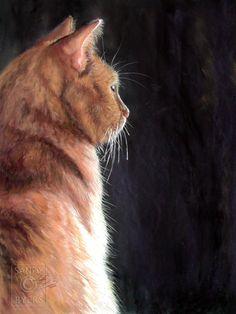 Sandy Byers Pastel CAT gold orange tabby feline Animal Painting
