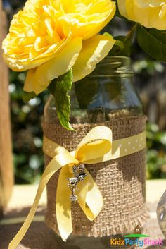 Mason jar decorations at a Bumblebee Baby Shower Party!  See more party ideas at CatchMyParty.com!