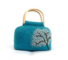 Very beautiful teal blue, hand felted and embroidered handbag $120