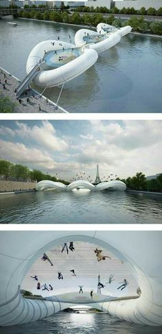 Inflated trampoline bridge..paris