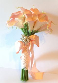 Wedding Bouquet Set, Blush Pink Calla Lily with groom boutonniere. $88.00, via Etsy.