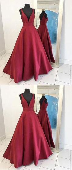 burgundy v-neck A-line satin long prom dress, PD45690 #longpromdresses