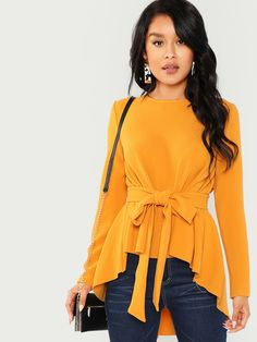 Shop Self Belted Asymmetrical Hem Top online. SHEIN offers Self Belted Asymmetrical Hem Top & more to fit your fashionable needs. Mode Ootd, Mode Hijab, Fashion Mode, Womens Fashion, Jeans Fashion, Style Fashion, Fashion Trends, Vetement Fashion, Plain Tops