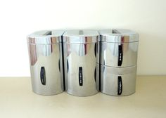 Kitchen Canisters Chrome Storage for Flour Sugar by KimBuilt, $21.00