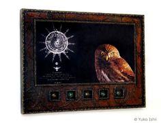 Visionary (Mandala) Mixed Media Assemblage, Wax on Wood Panel © Yuko Ishii