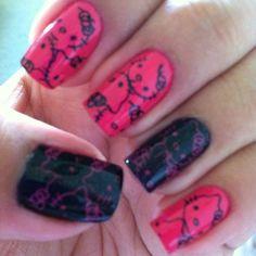 Hello Kitty #nails #nailart Nail Ideas, Makeup Ideas, Hello Kitty Nails, Gorgeous Nails, Natural Nails, Toe Nails, Nail Art Designs, Nailart, Finger