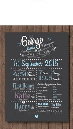 Personalised -Baby stat's ON THE DAY YOU WERE BORN - Nursery Gift - Time Capsule