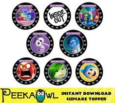 """30 Inside Out Stickers 2.5/""""x2.5/"""" ea. Party Favors"""