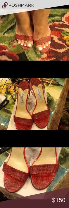Jimmy Choo Red lizard sandals Very feminine red lizard sandals,made in Italy🇨🇮 Jimmy Choo Shoes Sandals