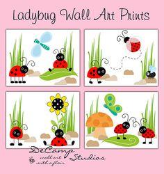 Ladybug 8x10 Wall Art Prints for baby girl nursery and childrens room decor #decampstudios