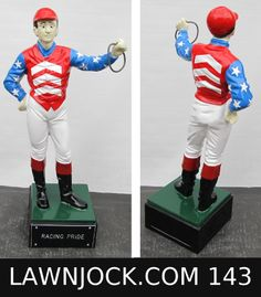 The traditional lawn jockey statue is taking back America's boring suburban neighborhoods one yard at a time.   Your lawn is next!   Want an REAL METAL jock professionally painted using 2 coats of high gloss enamel like this one shipped directly to your mansion in about 3 weeks?   Visit lawnjock.com for a price quote today and reference custom example #143.