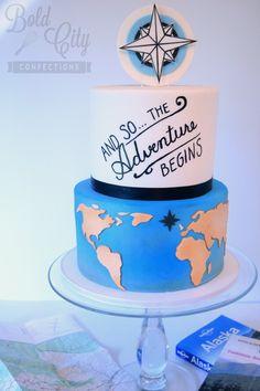 Travel inspired retirement cake