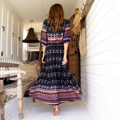 Boho Ethnic Summer Long Maxi Dress Women Sexy V-Neck Sundress Ladies Half  Sleeve Loose Beach Dresses Big Size Vestidos 23a077b4a648