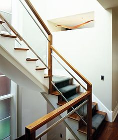 Glass Stair Railing frames by wood. LOVE