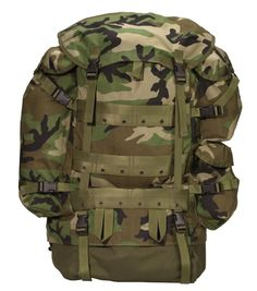 MILITARY TYPE CFP-90 COMBAT PACKS - Black or Woodland Camo Better-Than-Mil-Spec Replica of U.S. Military Pack Rugged Aluminum Internal Frame Adjustable Padded Shoulder Straps w/ Sternum Strap Zippered