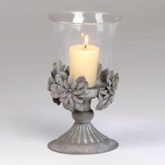 Tin Flower & Glass Candle Holder | Kirkland's
