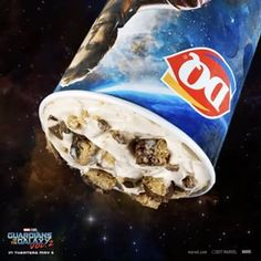 "In the new Dairy Queen Guardians Awesome Mix BLIZZARD of the Month, cookie and brownie join forces to bring you intergalactic brookie deliciousness! See Marvel Studios' ""Guardians of the Galaxy Vol. in theaters May Queens Food, Secret Menu Items, Dairy Queen, Guardians Of The Galaxy, Studios, Cookie, Join, Marvel, Awesome"
