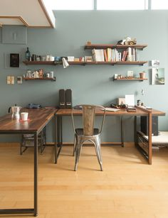 love the wall color and wooden simplicity