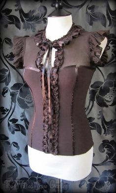Gothic Romantic Victorian Brown Ruffle Fitted Corset Style Tie Neck Blouse 8 10 | THE WILTED ROSE GARDEN on eBay // Worldwide Shipping Available
