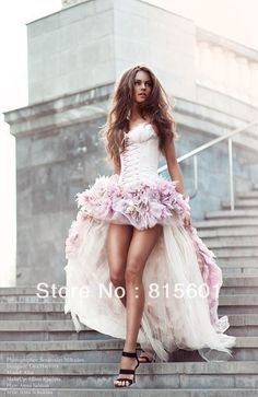 Free shipping New Arrival 2012 Sexy High Low Satin Sweetheart Organza Pink Corset Wedding Dress For Bridal With Flowers