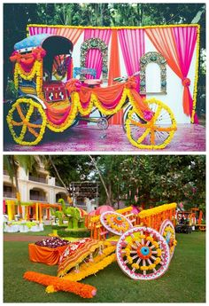 Marigold is a integral part of Indian weddings since the beginning. The trend is now making a comeback, check out 12 ways of using Marigold decor wedding. Desi Wedding Decor, Wedding Hall Decorations, Marriage Decoration, Wedding Entrance, Backdrop Decorations, Flower Decorations, Wedding Card, Wedding Favors, Wedding Ideas