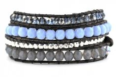 Denim blue, periwinkle blue, sterling silver I love this combo