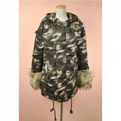 $25.39 Street Style Hooded Long Sleeves Camouflage Plus Size Furry Cuff Cotton Blend Padded Coat For Women