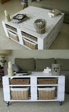 50 ideas for a coffee table with palette! - table with white pallets, classic living room - Palette Furniture, Diy Pallet Furniture, Diy Pallet Projects, Home Projects, Pallet Ideas, Palette Table, Crate Furniture, Furniture Projects, Rustic Furniture