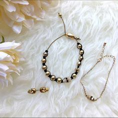 Gold toned skull jewelry bundle 💥Discounted Bundles💥 ▪️Please use the offer feature 👍🏽 ▪️Ships within 24 hours ✈️ ▪️🚫No trades🚫No Paypal 🚫Holds ▪️ Love the item but not the price?  Make an offer! 😊 ▪️Questions?  Don't be shy!  Feel free to ask 💁🏽 ▪️Condition - Fair ▪️Size - One size  ▪️Material - Mixed  ▪️Description - Set of 2 adjustable skull bracelets and one adjustable skull ring.  Some signs of wear, close up pictures included in listing. Jewelry Bracelets